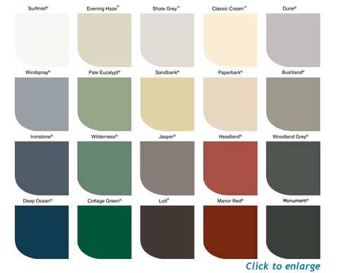 Lysaght Colour Chart for COLORBOND® steel - K & M Roofing